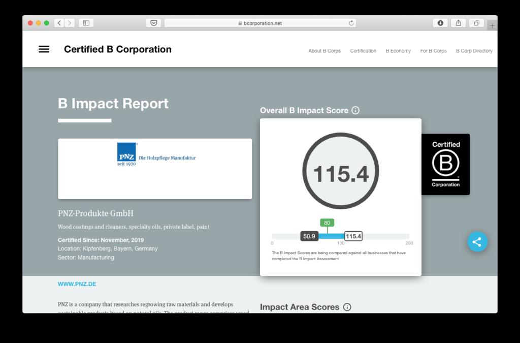 Der öffentlich zugängliche B Impact Report von PNZ auf der B Corporation-Webseite